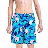 Angel Legend Men's Floral Printed Pattern Cotton Beach Shorts Swim Trunks