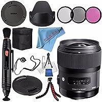 Sigma 35mm f/1.4 DG HSM Art Lens for Nikon DSLR Cameras #340306 + 67mm 3 Piece Filter Kit + Lens Pen Cleaner + Fibercloth + Lens Capkeeper + Deluxe Cleaning Kit + Flexible Tripod Bundle