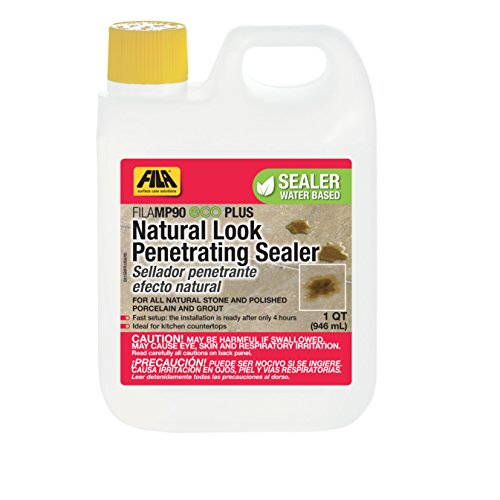 Surface Tile Sealer - FILA Natural Stone Sealer MP90 Eco Plus 1 QT, Natural Look Sealer and Stain Protector, ideal for All Natural Stone, Polished Porcelain Tile and Grout, Eco-friendly Water Based