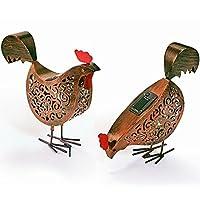 IDMarket - Lot de 2 poules métal éclairage extérieur à led solaire