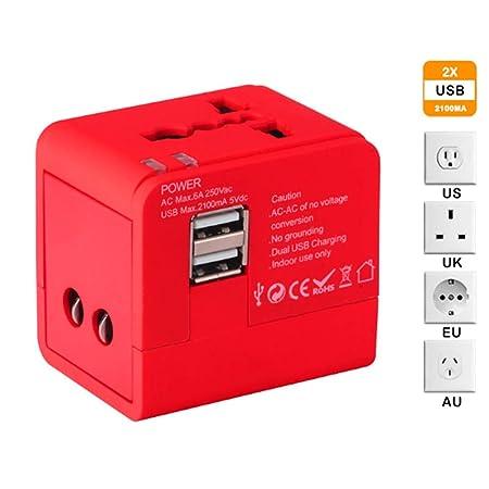 MOCHEN Enchufe de conversión Universal,2 Puertos USB ...