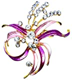 BDJ Gold Tone Hand Painted Enamel Rhinestone Ylang Ylang Flower Brooch Pin (Pink)