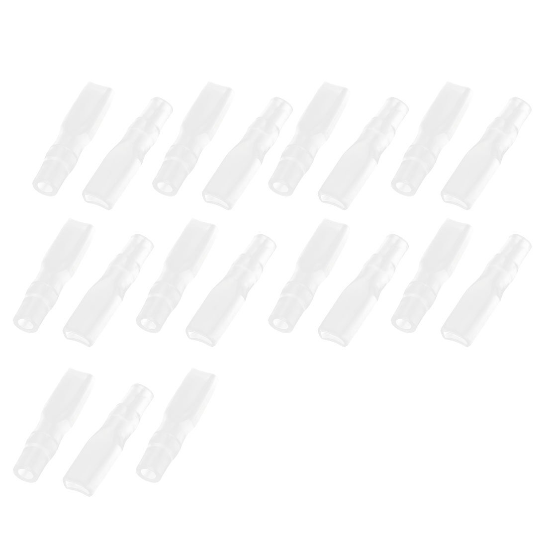 PVC Female Spade Terminal Insulated Sleeve Cover 6.3mm 19pcs Clear