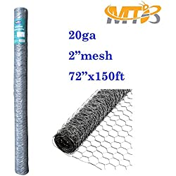 "Galvanized Hexagonal Poultry Netting,Chicken Wire 72""x150'- 2"" 20GA (Also sold in 25' / 50' length)"