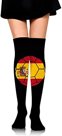 Shotngwu Bandera de España Balón de fútbol Botas para mujer Calcetines altos hasta la rodilla Medias altas: Amazon.es: Ropa y accesorios