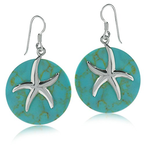 925 Sterling Silver Starfish on Created Green Turquoise Circle Dangle (Turquoise Starfish Earrings)