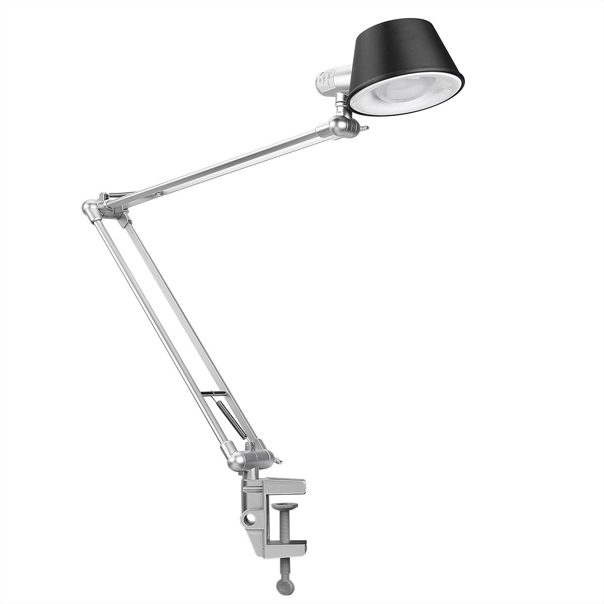 LE Swing Arm Desk Lamp, C-Clamp Table Lamp, Flexible Arm, Classic Architect Drawing Clamp-on Desk Lamp, Black Painted with Metal Clamp, UL Plug (Black - Metal Arm Joint) Lighting EVER