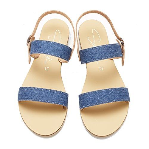 Denim Cuir Doris à bohèmes Main Femme d'été Chaussures Faites Schmick pour Naturel Sandales la en grecques Plates Chics awqHxzfnCS