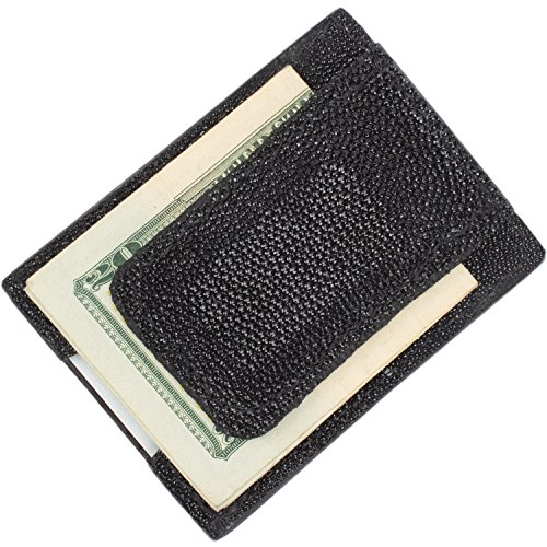 Genuine Stingray Skin Magnetic Money Clip Wallet (3 Card Slots, (Stingray Card)