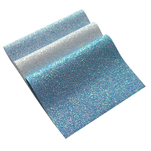 Chunky Glitter Fabric Sheets- 3 Pieces of Assorted Colours 8 x 12 Precut Shiny Thick Canvas Fabric Sheets for Bag Making, Hat Making, Hair Crafts Making, Jewelry Making, Sewing (Mix Color-5)