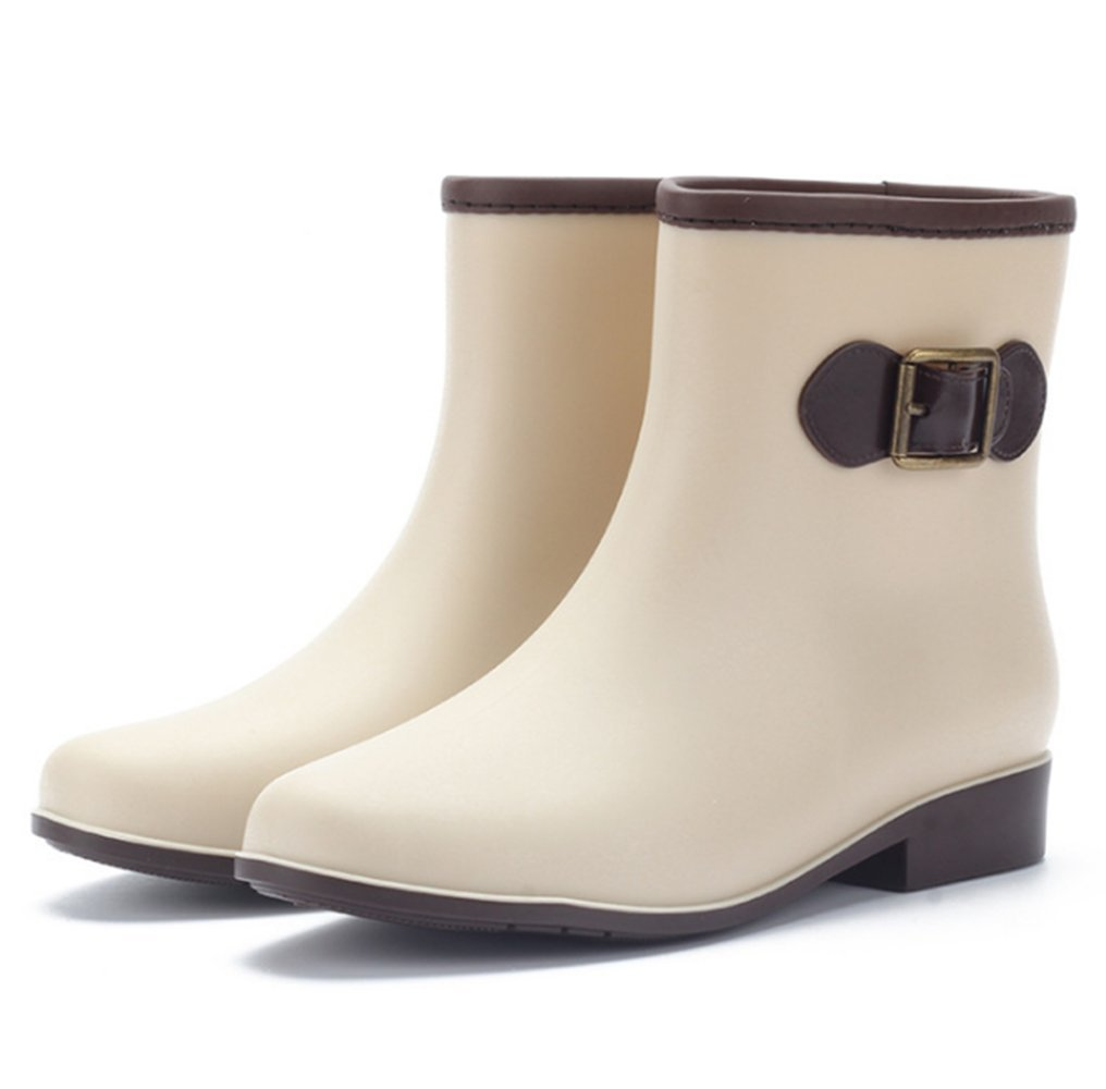 KENO Bota Agua, Bota Impermeable Elegante/Cargadores del Tobillo de Goma para Mujer, Adecuada para Mal Tiempo o Trabajo en Jardín, etc.