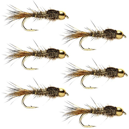 Nymphs Fly Set (The Fly Fishing Place Bead Head Gold Ribbed Hare's Ear Nymph Fly Fishing Flies - Set of 6 Flies Hook Size 10)