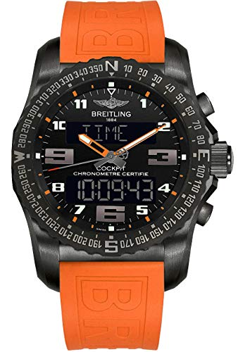 (Breitling Cockpit B50 Black Titanium 46mm Mens Watch with Orange TwinPro Rubber)