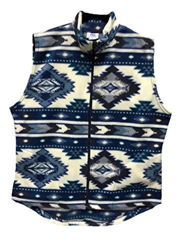 - Genuine American Cowgirl Women's Polar Fleece Vest, Denim Aztec, Small