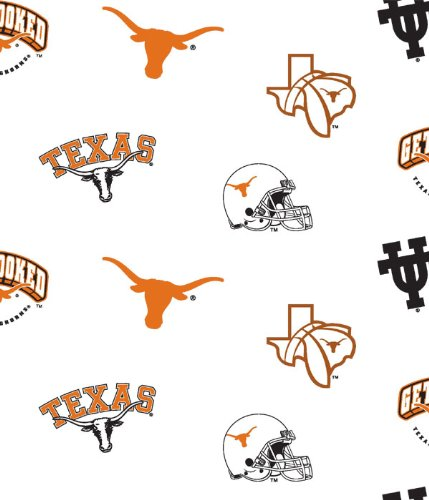 University of Texas Longhorns Patch Cotton Fabric, Burnt Orange & Black - Sold By the ()