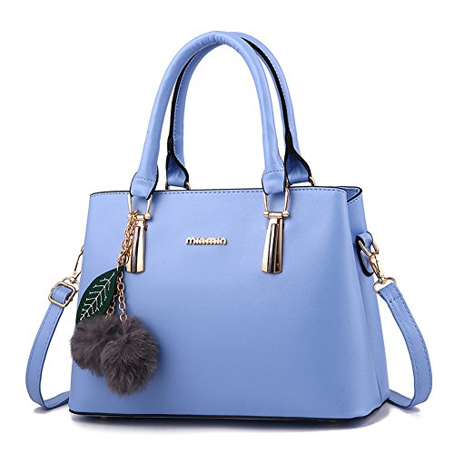 Dreubea Women's Leather Handbag Tote Shoulder Bag Crossbody Purse Sky Blue
