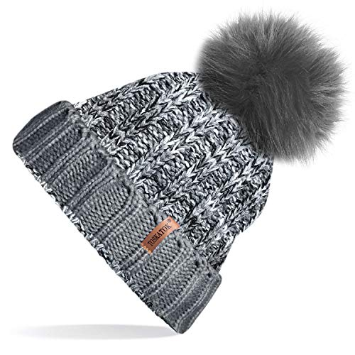 6a6c42c4529 TOSKATOK®Womens Winter Rib Knitted Hat/Beanie with Detachable Chunky ...