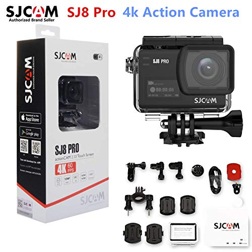SJCAM SJ8 Pro 4K 60fps Dual Touch Screen WiFi Action Camera 2.3 Inch Touch Screen with 170° Wide Angle EIS 8X Digital Zoom 30M Waterproof Camera (Black)