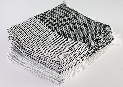 Aegean Hand Turkish Towel Pestemal - Head Hair Face Baby Care - Gym Travel Kitchen Tea Dish Washcloth - Handloom Diamond Weave - 16X36 Inches, (4 Silver Grey, 4 Black) (Set of 8) ()