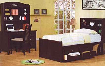 Amazon.com - Cappuccino Finish Full Chest Bed Kids Bedroom Set Desk ...