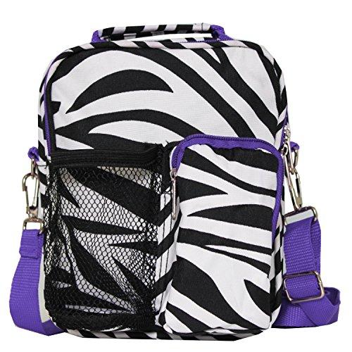 World Traveler 9 Inch Crossbody Day Pack, Light Purple Trim Zebra, One Size
