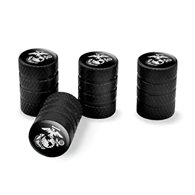 Graphics and More Marines USMC White Eagle Globe Anchor on Black Officially Licensed Tire Rim Wheel Aluminum Valve Stem Caps: Automotive