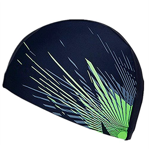 Cap Youth Cloth (Zhuangxueing Swim Caps Breathable Cloth Fabric Dark Blue Rainforest for Adults and Youths)