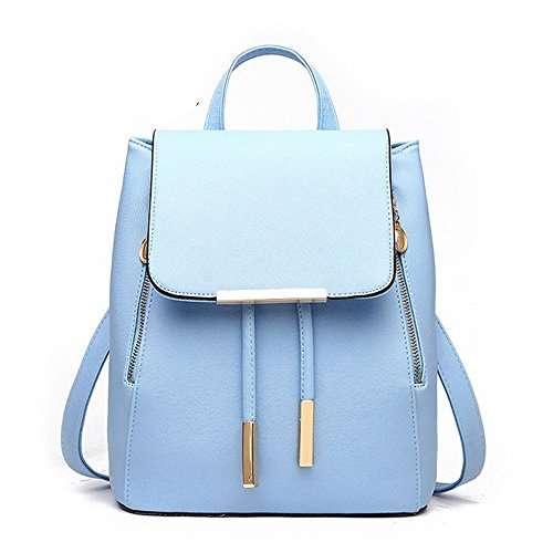 Women Leather Shoulder Bag Travel Camping Backpacks Schoolbags (Skyblue) by Huabor
