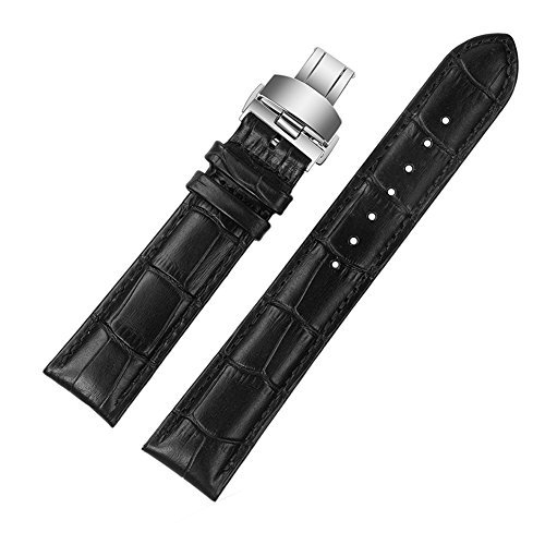 ViuiDueTure (12mm-22mm) Black Luxury Business Classic Calfskin Leather Strap Replacement Watch Band Silver Deployment Buckle (20mm) (Strap Watch Longines)