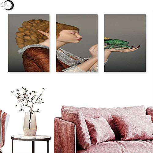Tree Alpaca Frog Sport - Fantasy Living Room Home Office Decorations Princess Kissing Frog Prince Three Dimensional Design Fairytale Characters Magic triptych art set Multicolor triptych art canvas W 16