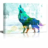 wall26 - Animal Theme Canvas Wall Art - A Double Exposure Howling Wolf on an Abstract Background - Giclee Print Gallery Wrap | Modern Home Decor Stretched & Ready to Hang - 32x48 inches