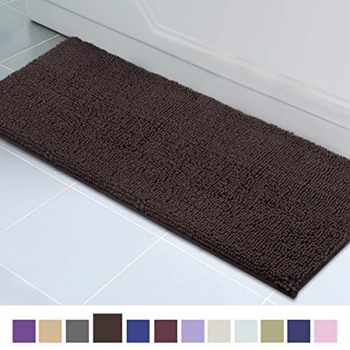 ITSOFT Non Slip Shaggy Chenille Soft Microfibers Runner Large Bath Mat for Bathroom Rug Water Absorbent Carpet, Machine Washable, 21 x 59 Inches Chocolate Brown (Machine Wash Rugs)