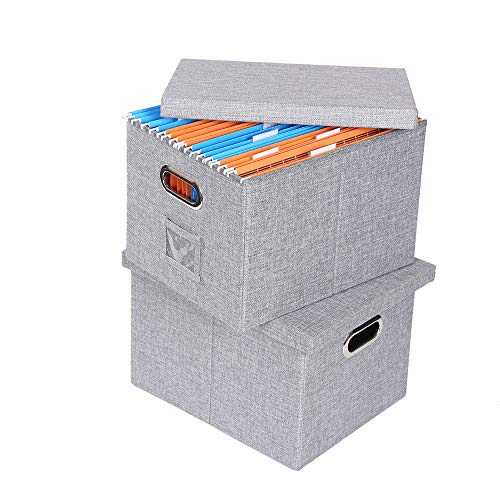 Collapsible File Storage Boxes with Lids Large Capacity Filing Organizer Letter/Legal File Floder Storage, Office Box, 2Packs - Collapsible File Box