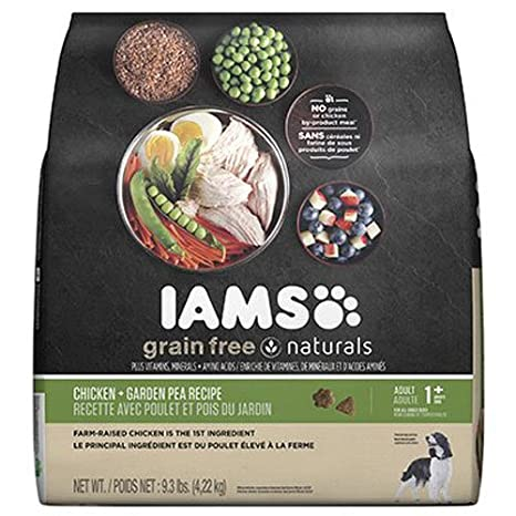 IAMS Grain Free Naturals Adult Chicken and Garden Pea Recipe Dry Dog Food  9.3 Pounds
