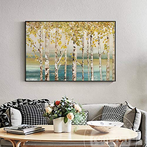 N / A Pintura sin Marco Resumen nostalgico Bosque de otono sobre Lienzo Arte de la Moda poster decoracion de la Sala Arte de la paredZGQ7381 50X75cm