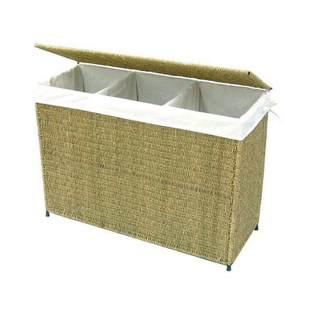 America Basket Company Woven Decorative Seagrass Lined 3-section Full-load Hamper by America Basket