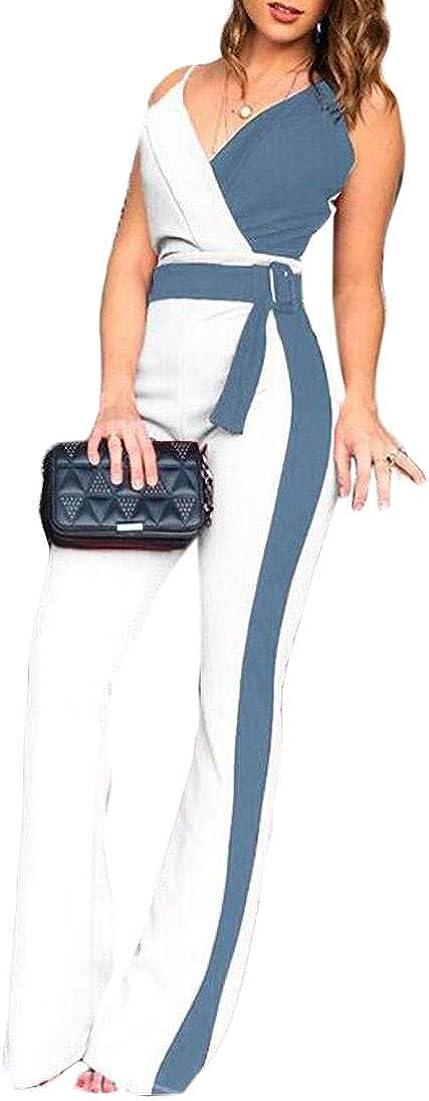 Abeaicoc Womens V Neck Wrap Spaghetti Strap Wide Leg Color Block Jumpsuit Romper