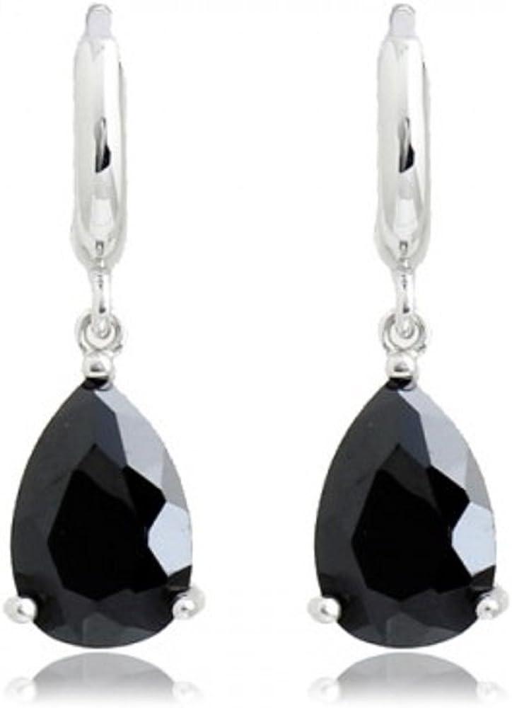 Negro Lágrimas Pendientes con Cristales austríacos de Zirconia 18k Chapado en oro blanco para mujer