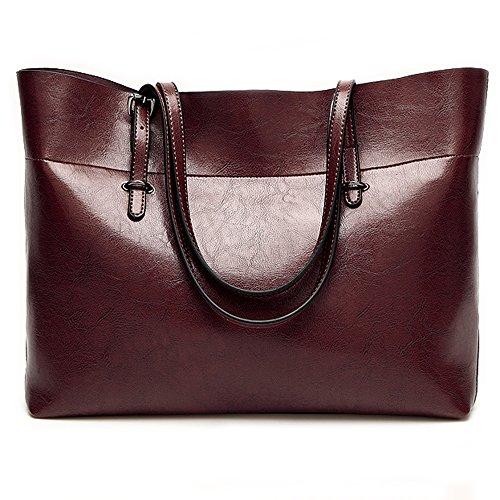 - Leather Tote Bag for Women, Large Commute Handbag Shoulder Bag Zipper Women's Work Satchel Bag (dark red)