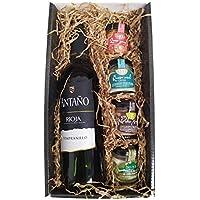Cesta Gourmet Deliex con Vino Rioja Antaño de 37,5 cl, 2 patés de Lomo Ibérico 30 g y Paté al Pedro Ximénez 30 g, 2…