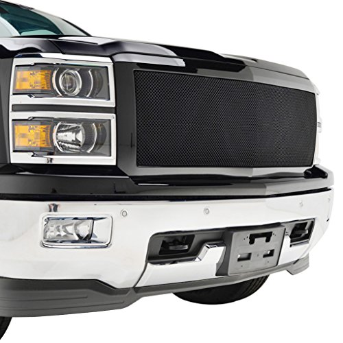 1500 Bumper Grille Replacement (E-Autogrilles 14-15 Chevy Silverado 1500 Glossy Black Replacement Stainless Steel Front Main Upper Bumper Mesh Grille Grill With Shell (44-0837))