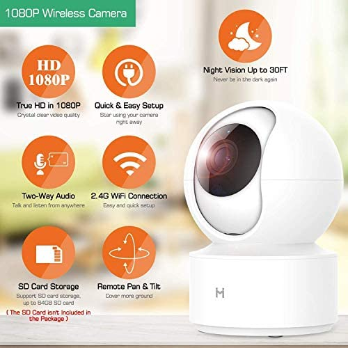 1080P Wireless Smart Home Indoor Baby IP Security Camera IMILAB,2.4Ghz WiFi Surveillance Dome Camera Pet Nanny Monitor with Two-Way Audio,HD Night Vision,Pan/Tilt,Remote View Support Max 256GB SD… 51qcOq56KqL