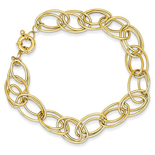 14k Yellow Gold Oval Link Bracelet 7.5 Inch Chain Fancy Fine Jewelry Gifts For Women For Her ()