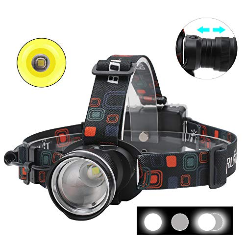 Boruit RJ-2166 1000 Lumens T6 LED Headlamp with White Light,3 Modes Zoomable Headlight,IPX4 Waterproof Head Torch Perfect for Running, Camping, Hiking & More