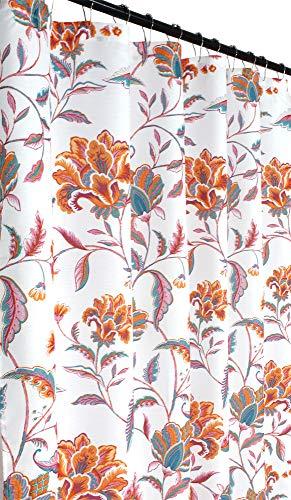 Mykonos Pink Aqua Orange White Fabric Shower Curtain: Bright and Bold Colorful Floral Design (Shower Curtain White And Orange)