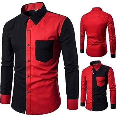 Easytoy Mens Fashion Casual Slim Fit Stylish Shirts Long Sleeve Shirt Blouse