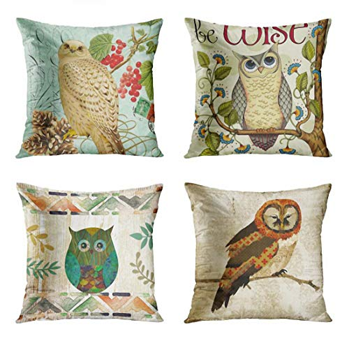 (ArtSocket Set of 4 Throw Pillow Covers Pinecones Vintage Winter White Owl Berriies Nature Seafoam Garden Inspiration Wise Family Decorative Pillow Cases Home Decor Square 18x18 Inches Pillowcases)