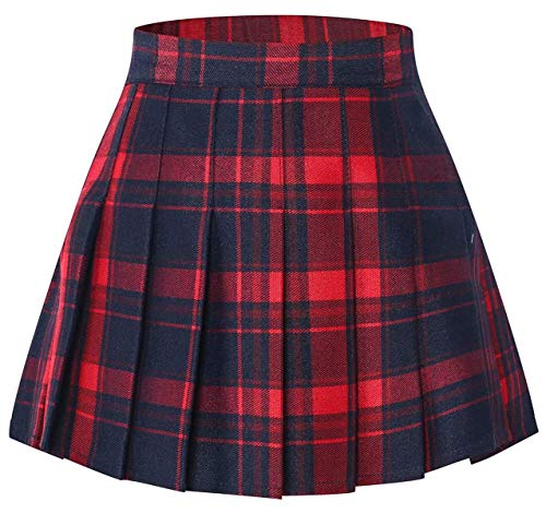 Plaid Pattern Pleated School Uniform Cosplay Costume Skort Skirt Toddlers Little & Big Girls,Red, 13-14 Years/Height 66.9