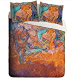 Queen Duvet Cover with abstract art, in turquoise and orange, Southwest Archetype