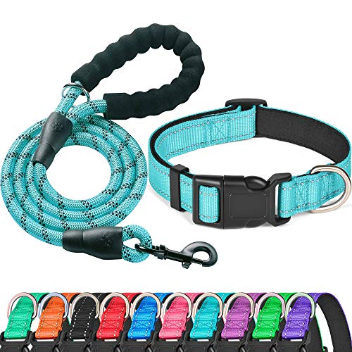 Ladoogo Reflective Dog Collar Padded with Soft Neoprene Breathable Adjustable Nylon Dog Collars for Small Medium Large Dogs (Collar+Leash M Neck 16″-19″, Blue)